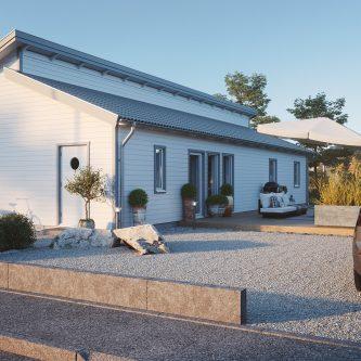 Villa med ryggställt pulpettak från Mellby hus