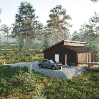Fritidshus med ryggställt pulpettak – Mellby Hus