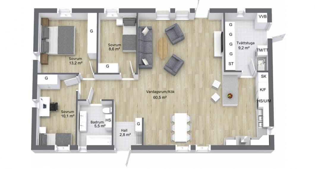 Planlösning villa 1-plan 113 kvm
