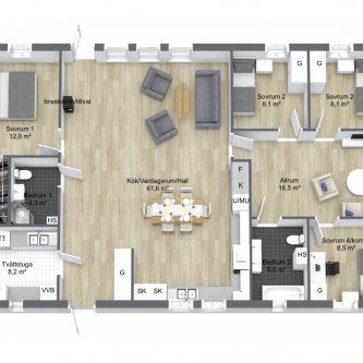 Planritning 3D 1-planshus 141 kvm