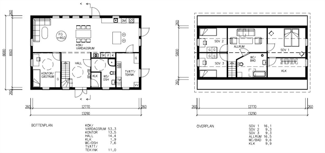 Planlösning 1,5-planshus 115 kvm* (Kundprojekt: 17193)