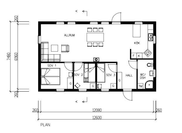 Planlösning 1-planshus 94 kvm* (Kundprojekt: 17013)